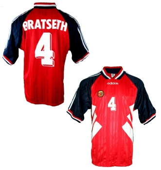 Adidas Norway jersey 4 Rune Bratseth 1994 USA red home men size XL
