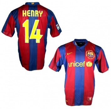Nike FC Barcelona jersey 14 Thierry Henry 2007/08 Unicef home blue men's XL