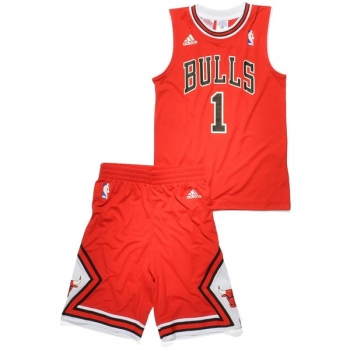 Adidas Chicago Bulls jersey with shorts 1 Derrick Rose red basketball NBA men's 176cm S-M