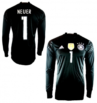 Adidas Germany keeper jersey 1 Manuel Neuer Euro 2016 home black men's M