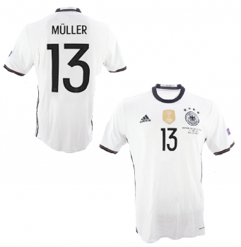 Adidas Germany jersey 13 Thomas Müller Euro 2016 home white men's M or L