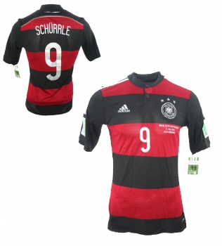 Adidas Germany jersey 9 Andre Schürrle World Cup 2014 away patches men's S or XL