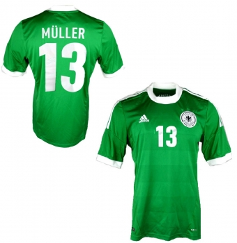 Adidas Germany jersey 13 Thomas Müller Euro 2012 away green men's L