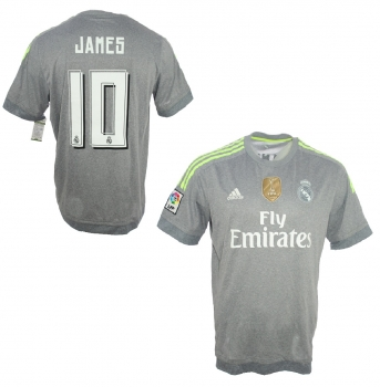 cd0d7e5f1 Adidas Real Madrid jersey 10 James Rodriguez 2015 16 Away grey men s ...