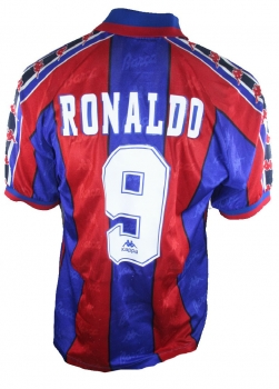 Kappa FC Barcelona jersey 9 Ronaldo 1995/96 match issued men's M or XL