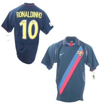 51f8ebb16 Nike FC Barcelona jersey 10 Ronaldinho 2003 04 Barca away men s M L