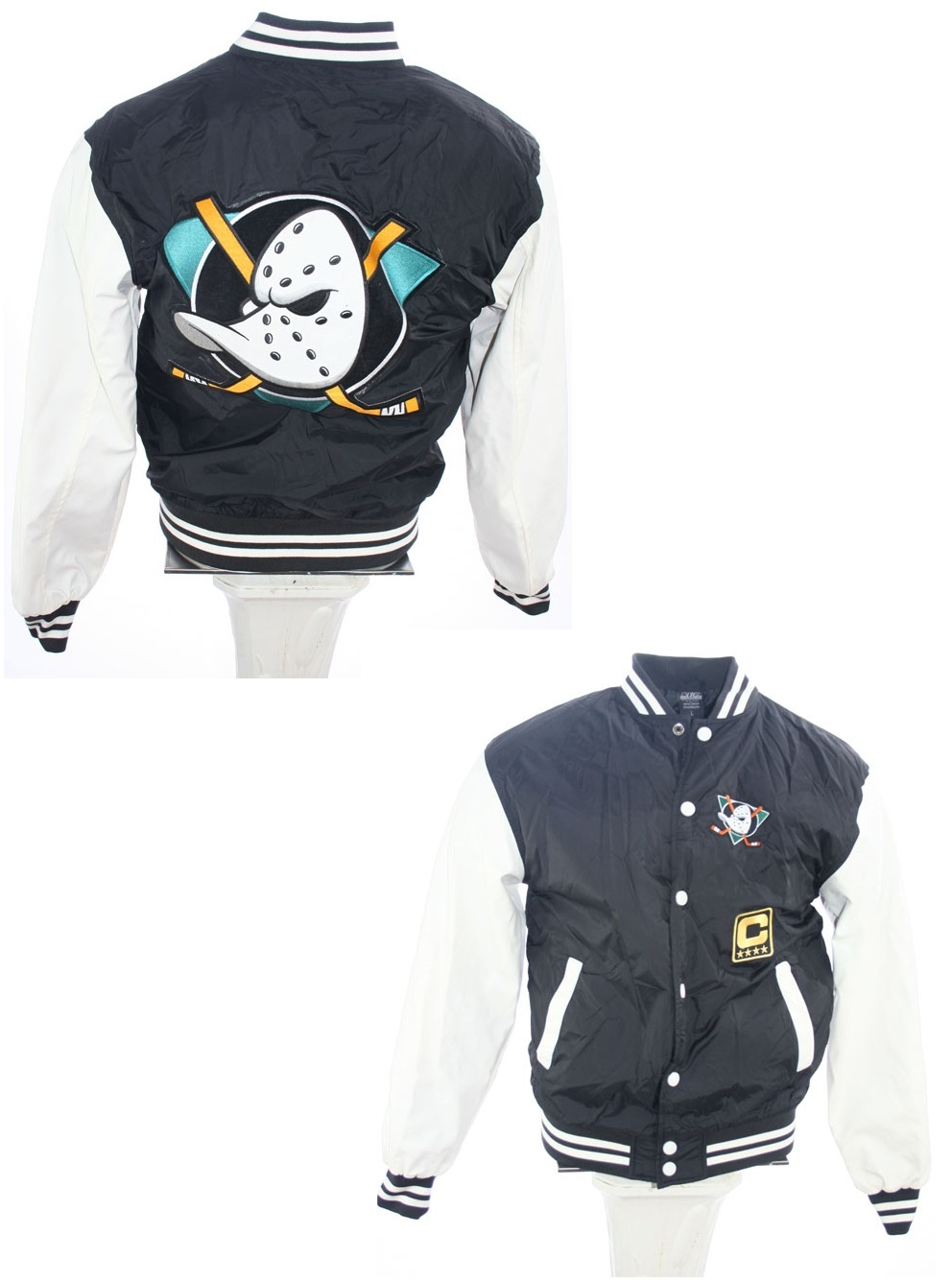 differently 03afa a3f88 Urban Classics Anaheim Mighty Ducks college jacket Walt ...