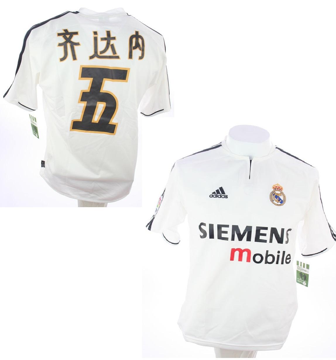 06ef42437d9 Adidas Real Madrid jersey 5 Zinedine Zidane chinese 2003 04 men s S ...