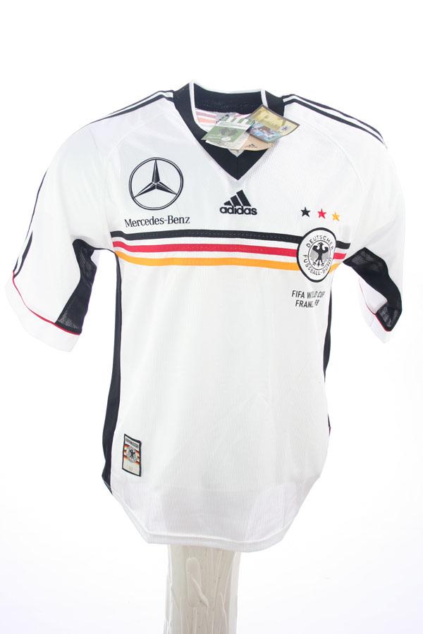 Adidas deutschland trikot wm 1998 mercedes benz heim dfb for Germany mercedes benz soccer jersey
