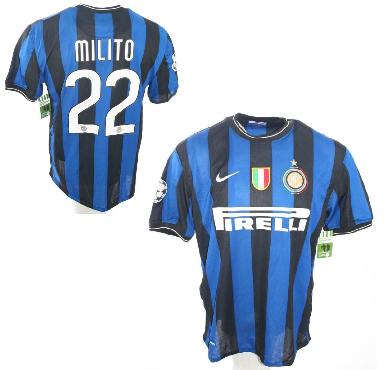 newest c7c66 82ce9 Nike Inter Milan Jersey 22 Milito 2009/10 Pirelli new men's ...