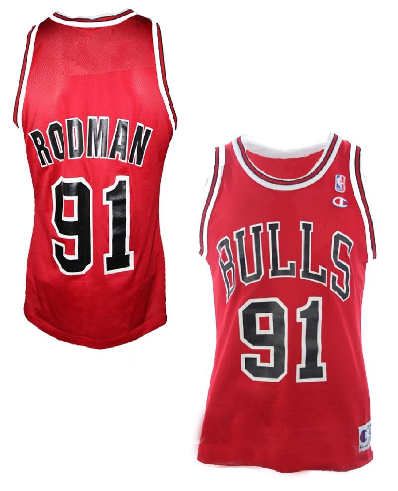 reputable site a27ea 40b8a Champion Chicago Bulls Trikot 91 Dennis Rodman Rot Swingman ...