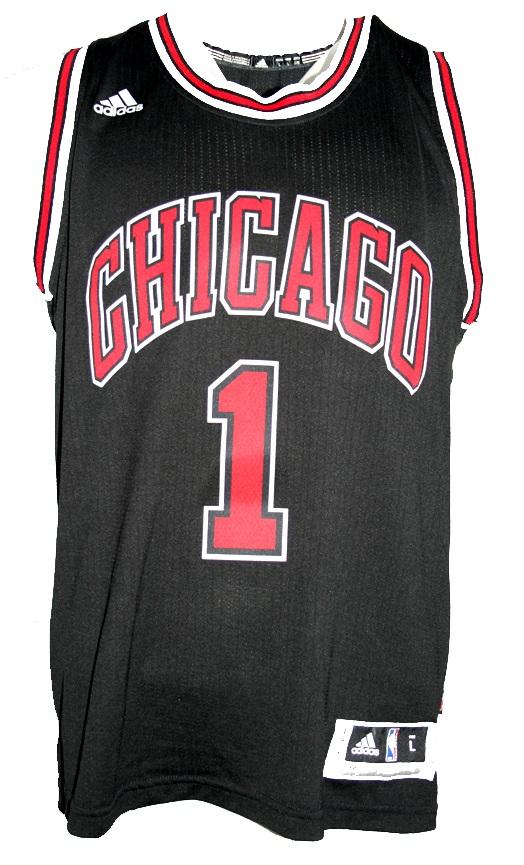 reputable site 23418 fd675 Adidas Chicago Bulls jersey 1 Derrick Rose home black ...