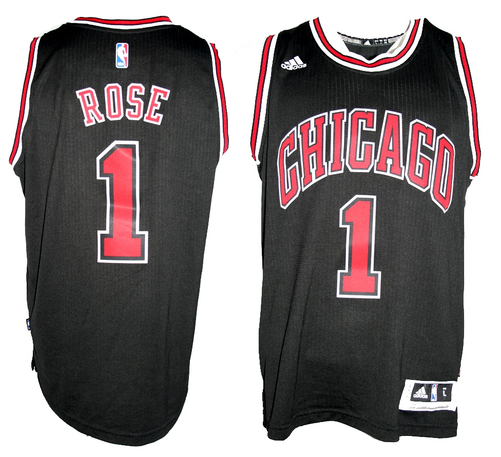 0983fb45 Adidas Chicago Bulls jersey 1 Derrick Rose home black Swingman basketball  NBA men's L