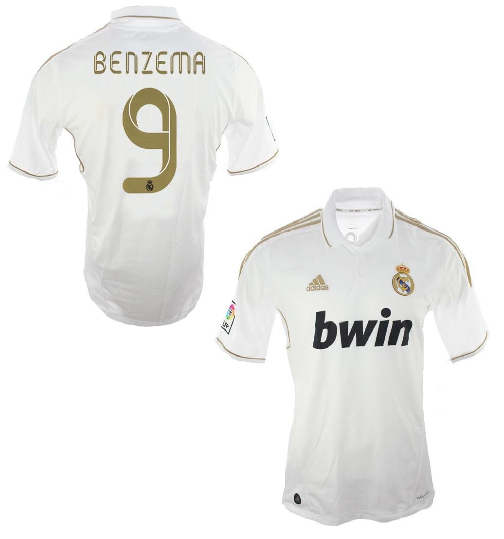 san francisco f1eed 409b7 Adidas Real Madrid jersey 9 Karim Benzema 2011/12 Bwin men's ...