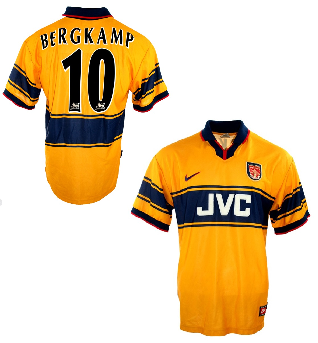 best service dcea3 aad79 Nike FC Arsenal jersey JVC 10 Dennis Bergkamp 1997-99 JVC ...