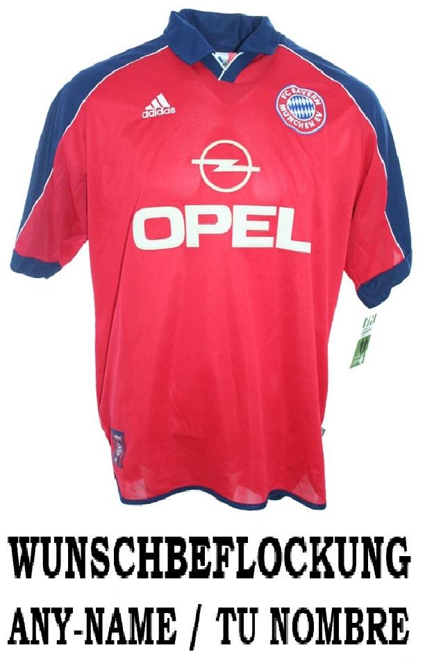 8e39ef3f37303 Adidas FC Bayern Munich jersey 1999 2001 Opel home red men