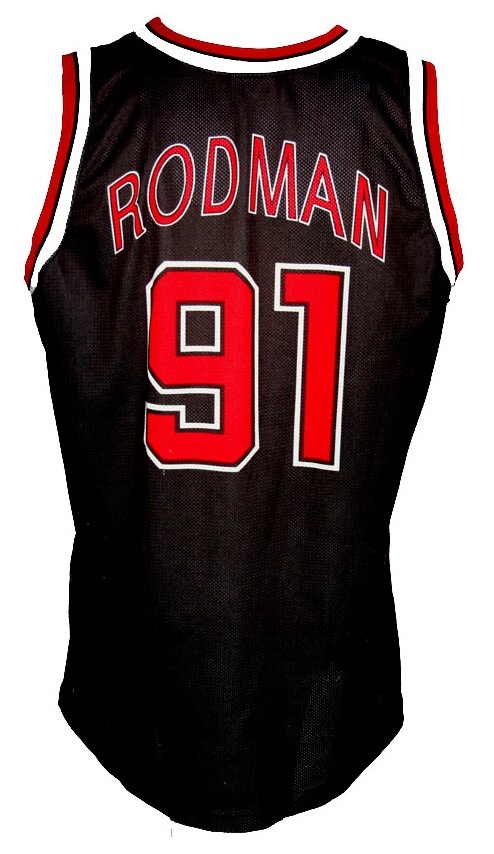 huge discount 2ab35 35f96 Champion Chicago Bulls jersey 91 Dennis Rodman Away NBA ...