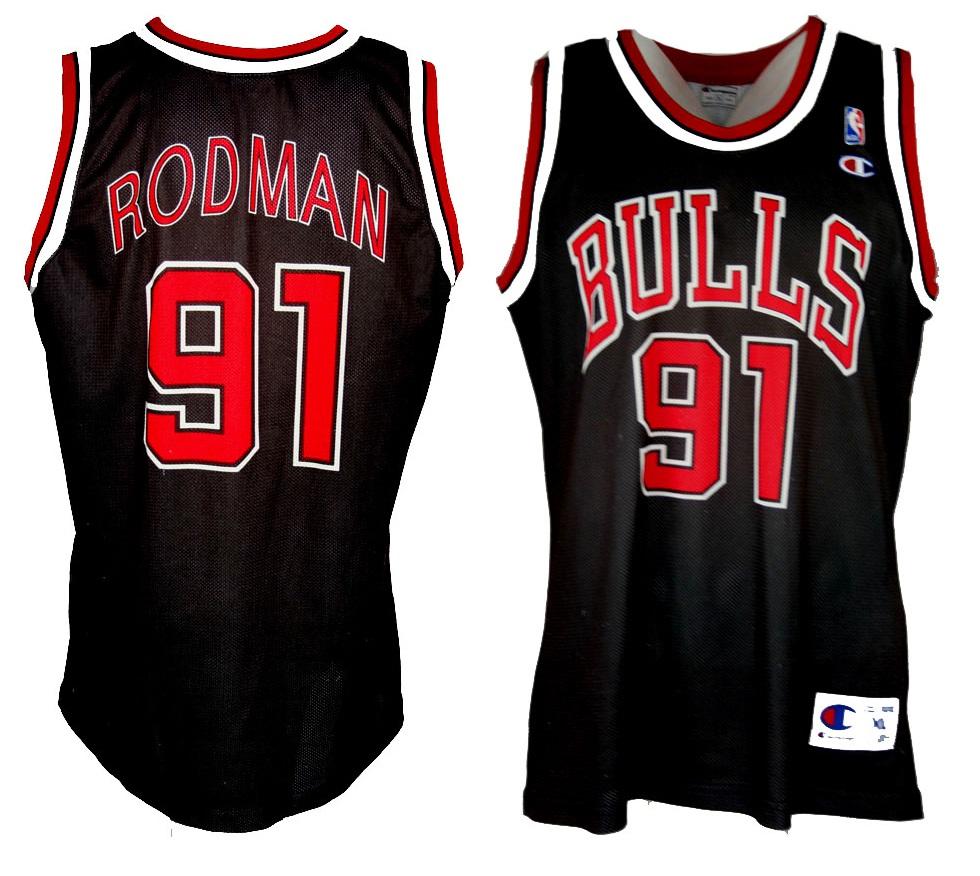new product dfa01 b15e9 Champion Chicago Bulls jersey 91 Dennis Rodman NBA away ...