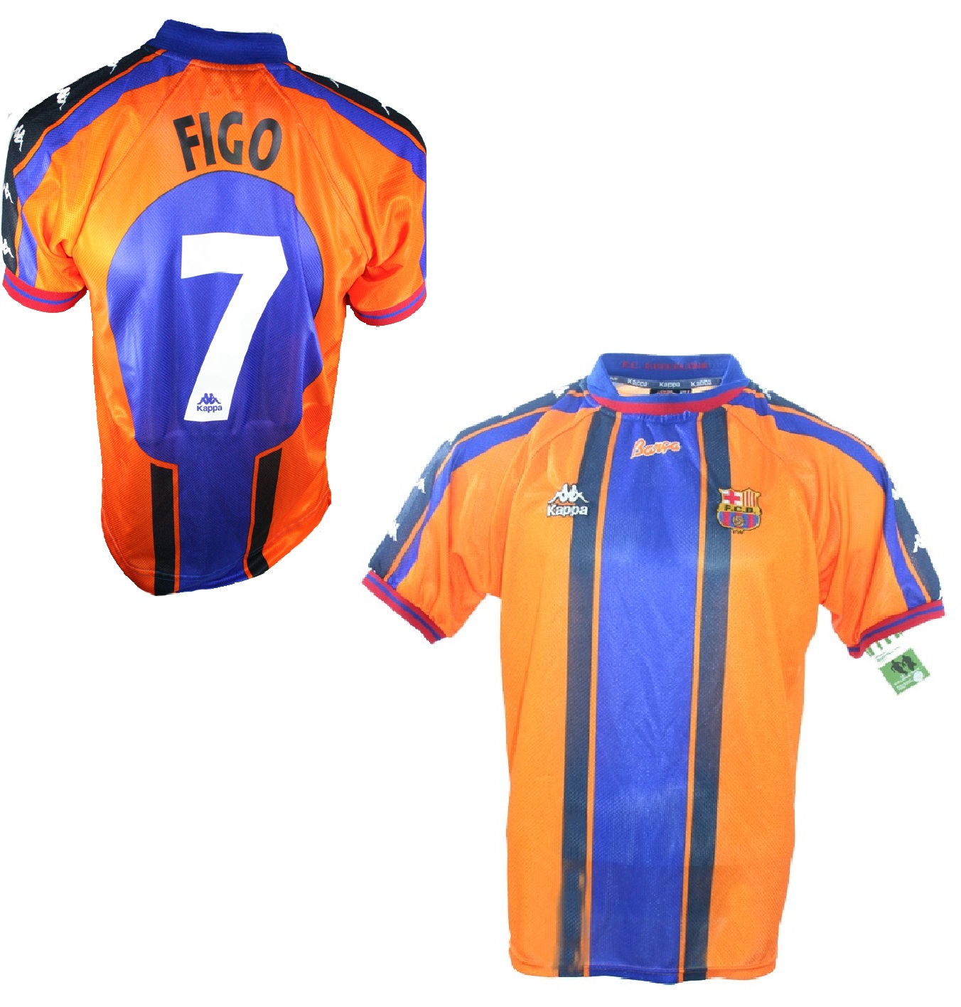 new concept 9c971 b2b0a Kappa FC Barcelona jersey 7 Luis Figo 1997/98 Away orange ...