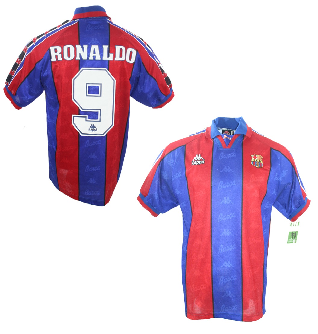 wholesale dealer a9d55 ecbc7 Kappa FC Barcelona jersey 9 Ronaldo 1995/96 Player Issued S ...