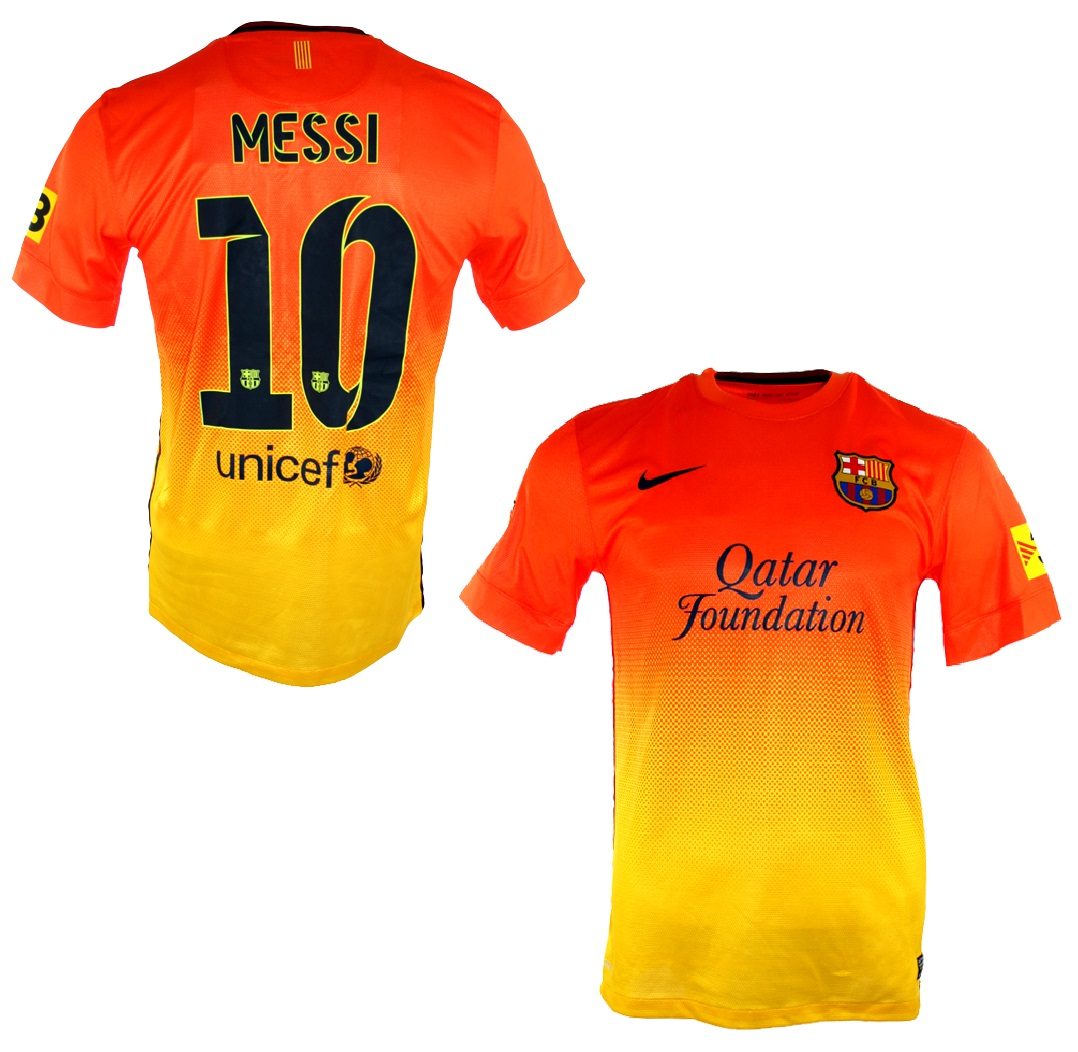 8630ecb58 Nike FC Barcelona jersey 10 Lionel Messi 2012 13 Qatar orange new away  men s L