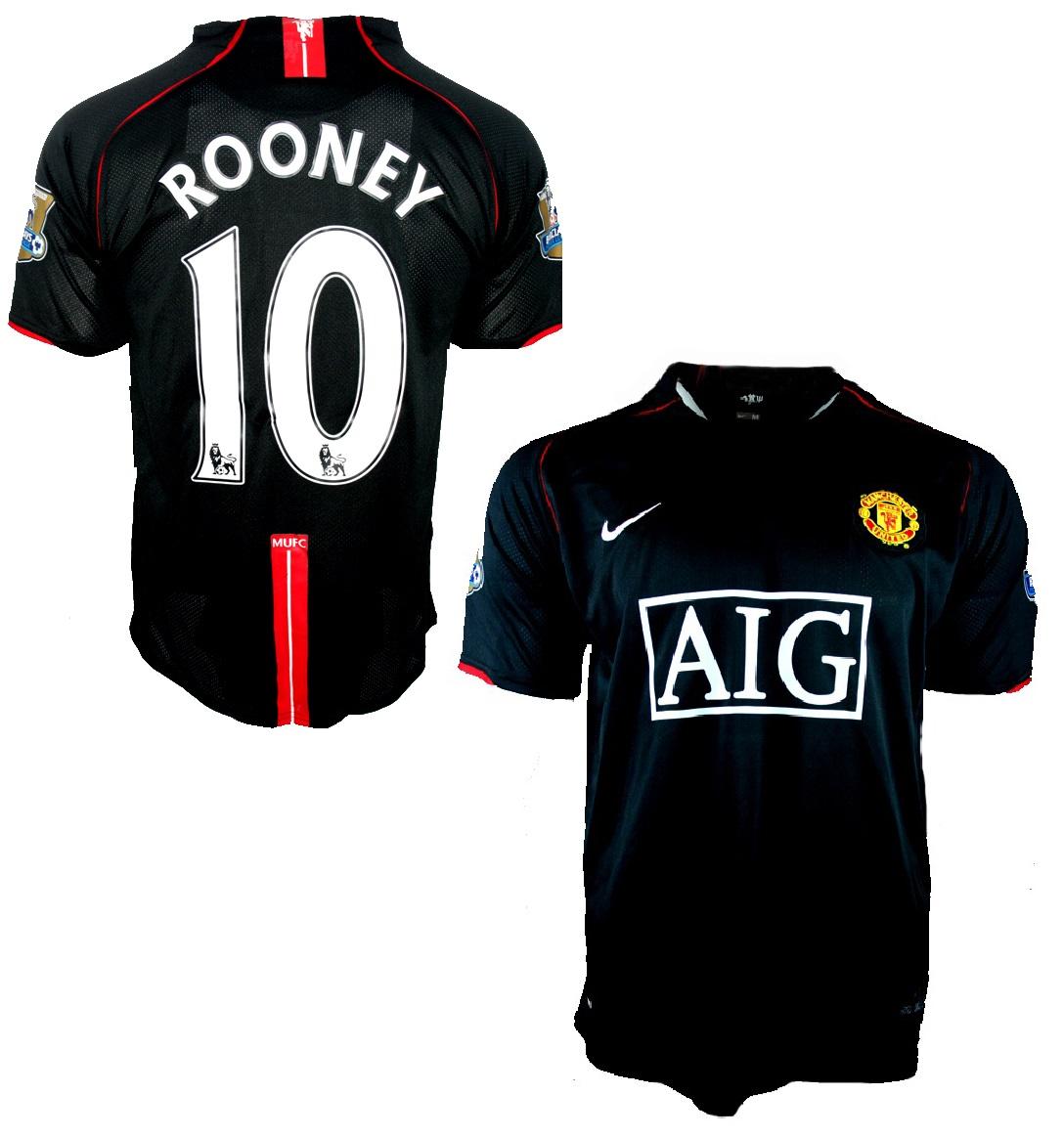 69adc120dab Nike Manchester United jersey 10 Wayne Rooney 2007 08 AIG black men s M