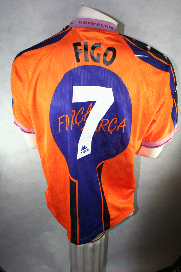9a6fdbdd3 Kappa FC Barcelona jersey 7 Luis Figo 1997 98 Away orange men s S M ...