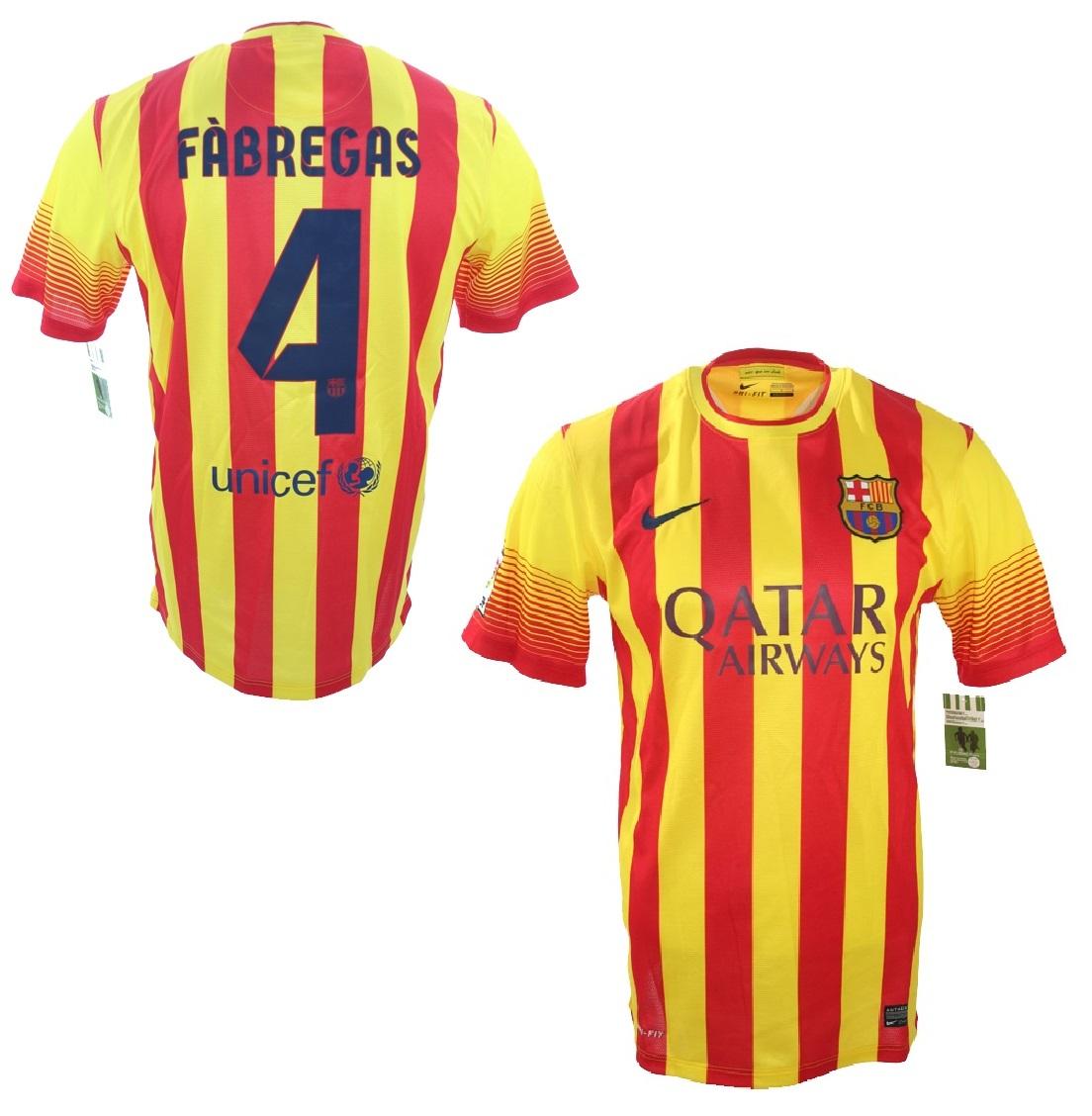 a3b26fab96c Nike FC Barcelona jersey 4 Cesc Fabregas 2013 14 Qatar away yellow red  men s M