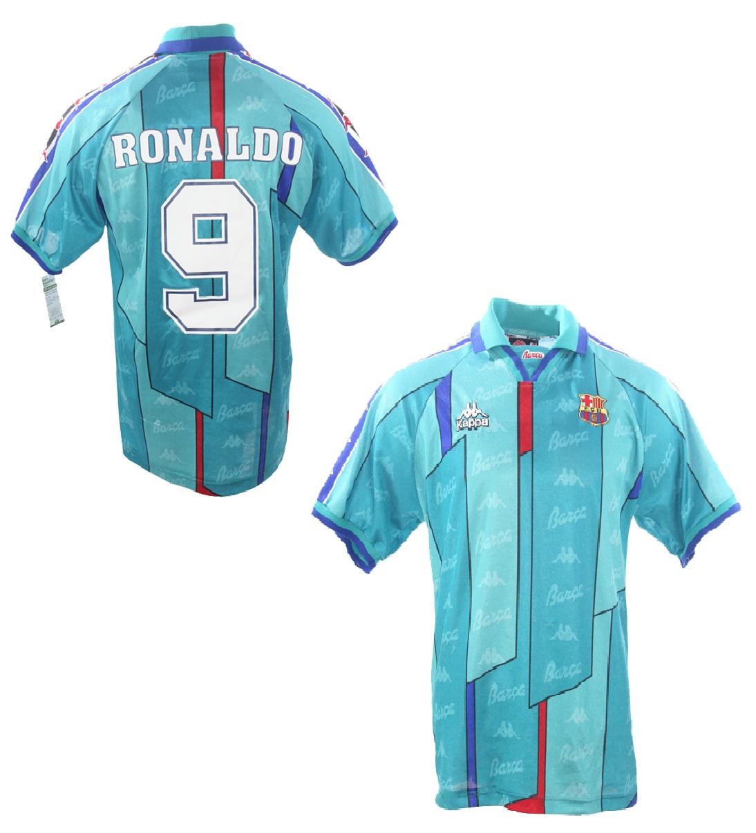 Kappa FC Barcelona Trikot 9 Ronaldo El Fenomeno 1996 97 Auswärts Herren M L  oder XL 3b22583a4
