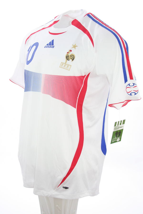 d821a9183f0 Adidas France jersey 10 Zinedine Zidane World Cup 2006 white away men's M  or XL