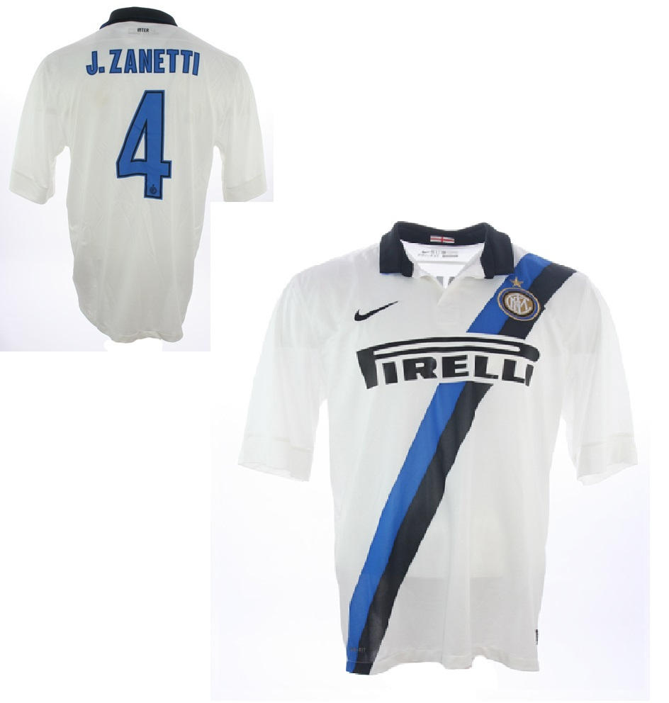 buy popular f5a48 47b72 Nike Inter Milan Jersey 4 Javier Zanetti 2011/12 White Away ...