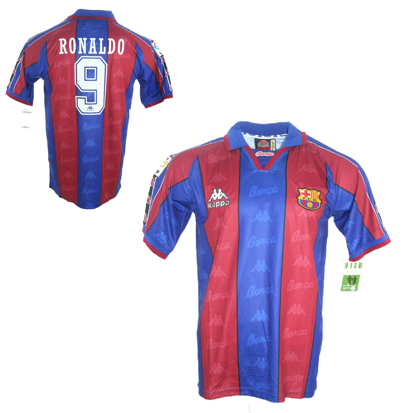 Kappa FC Barcelona jersey 9 Ronaldo 1995 96 match issued men s M or XL 81d1fe72b1670