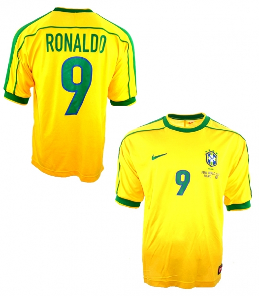 Nike Brazil jersey 1998 9 Ronaldo el fenomeno yellow new men's L