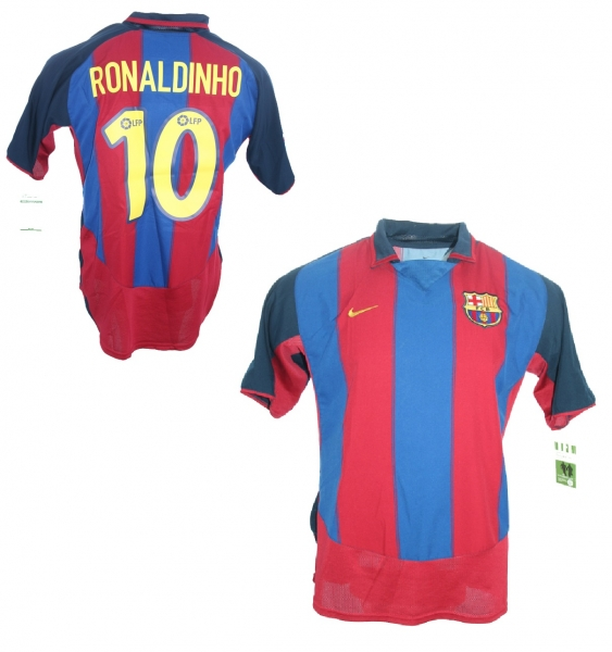 c029c1ba5 Nike FC Barcelona jersey10 Ronaldinho 2003 04 home men s S M L XL ...