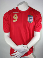 Umbro England Trikot 9 Rooney WM 2006 Away Rot Herren XL