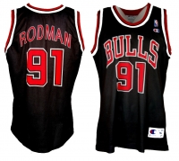 Champion Chicago Bulls Trikot 91 Dennis Rodman NBA Away Schwarz Herren XL