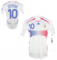Adidas France jersey 10 Zinedine Zidane World Cup 2006 white away men's M or XL