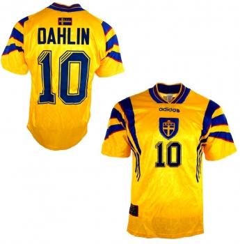 Adidas Schweden Trikot 10 Martin Dahlin 1996 1998 Gelb Heim Herren M oder XL
