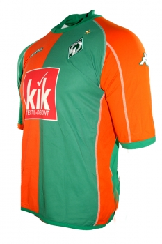 Kappa SV Werder Bremen jersey 10 Johan Micoud 2004/05 green Kik orange men's XL (B-stock)