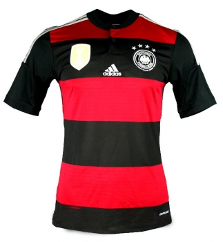 Adidas Germany jersey World Cup 2014 Brazil away 4 stars red/black men's M or L