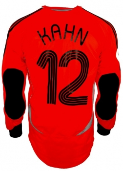 Adidas Germany keeper jersey 12 Oliver Kahn 2006 DFB orange men's XS, L or XL