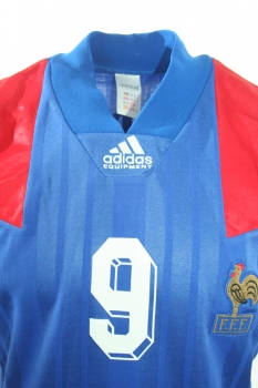 Adidas France jersey 9 Jean-Pierre Papin Euro 1992 home blue men's M