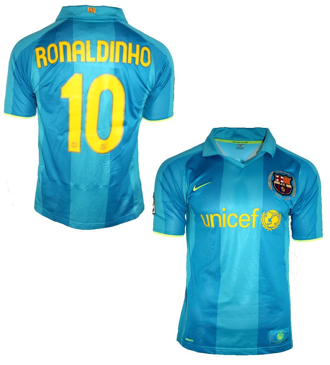 Nike FC Barcelona jersey 10 Ronaldinho 2007/08 blue Unicef men's  S(M/L/XL/XXL futbol shirt buy & cheap online shop - spieler-trikot.de  retro, vintage & old football shirts & jersey from super stars