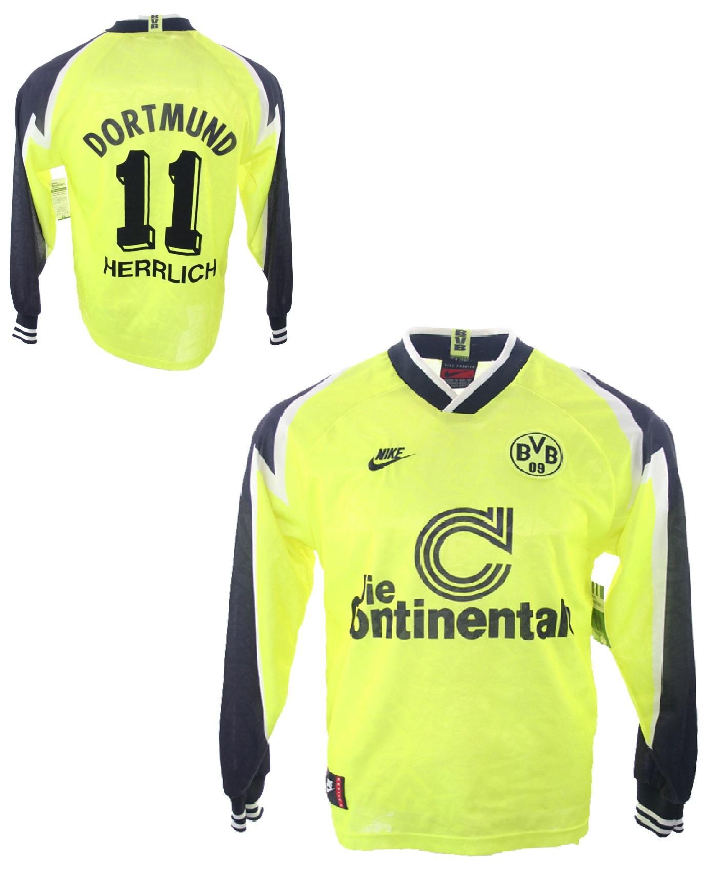 the latest 0993e 23eac Nike Borussia Dortmund Trikot 11 Heiko Herrlich 1995/96 Continentale BVB  Heim Herren XL
