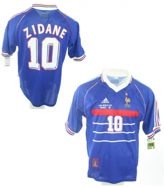 Adidas France Jersey 10 Zinedine Zidane world cup 98 1998 blue home men's S (B-Stock)