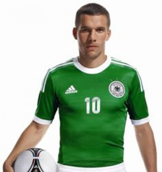 Adidas Germany jersey 10 Lukas Podolski 2012 away green shirt DFB men's XXXL/3XL
