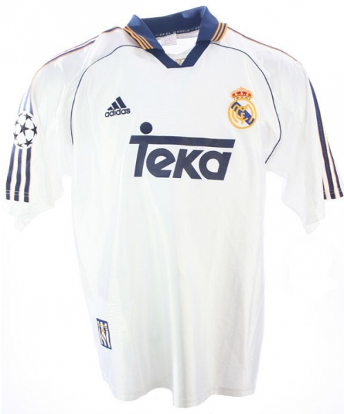 Adidas Real Madrid jersey 7 Raul 9 Suker 10 Seedorf 4 Hierro 1998-00 Teka CL white men's M or L