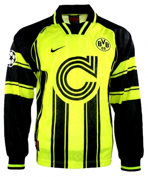 Nike Borussia Dortmund jersey 9 Stephane Chapuisat 1996/97 Continentale BVB CL Home men's L