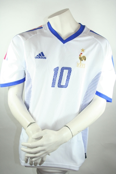 Adidas France jersey 10 Zinedine Zidane World Cup 2002 white men's L