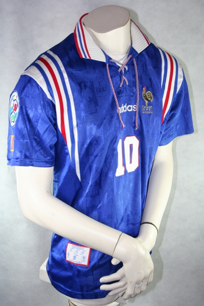 Adidas France Jersey 10 Zinédine Zidane Euro 1996 home men's M or XL